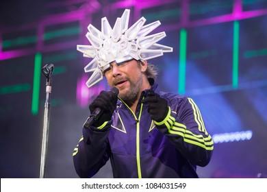"San Francisco, CA/USA - 4/17/2018 : Jason Luís Cheetham aka Jay Kay performs with Jamiroquai.  The group has won a Grammy Award and MTV Video Music Awards for their hit ""Virtual Insanity""."