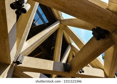 San Francisco, CA/USA - Aug. 15, 2015: Structure beams, base of the Transamerica Pyramid building.