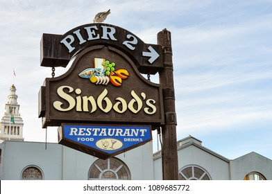 San Francisco, CA/USA - Feb. 1, 2015: Sign, Sinbad's Restaurant on Pier 2, San Francisco, CA.