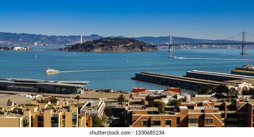 San Francisco, CA/USA - Feb. 1, 2014: Treasure Island, San Francisco-Oakland bay bridge, San Francisco Bay.