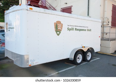SAN FRANCISCO, CA/USA - FEBRUARY 03, 2018: San Francisco National Park's Spill Response unit located at Fort Mason Golden Gate National Recreation Area