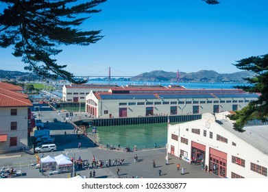 SAN FRANCISCO, CA/USA - FEBRUARY 03, 2018: View of Fort Mason Golden Gate National Recreation Area with the Golden Gate Bridge in the background