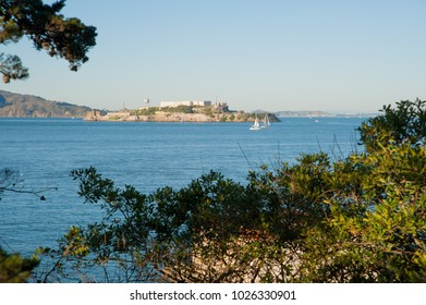 SAN FRANCISCO, CA/USA - FEBRUARY 03, 2018: View of Alcatraz Island and the now closed Alacatraz Prison as seen from Fort Mason