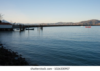SAN FRANCISCO, CA/USA - FEBRUARY 03, 2018: Sunset at Aquatic Park Cove in San Francisco, CA