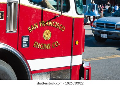 SAN FRANCISCO, CA/USA - FEBRUARY 03, 2018: Engine 13 from San Francisco's fire department located at Fisherman's Wharf in San Francisco