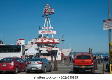 SAN FRANCISCO, CA/USA - FEBRUARY 03, 2018: Red and White Fleet's cruise and Ferry Terminal located in San Francisco's Fisherman's Wharf District