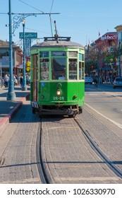 SAN FRANCISCO, CA/USA - FEBRUARY 03, 2018: A trolley car awaits passengers at San Francisco's Fisherman's Wharf