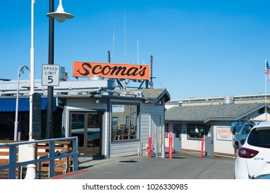 SAN FRANCISCO, CA/USA - FEBRUARY 03, 2018: World famous restaurant Scoma's  in San Francisco's Fisherman's Wharf