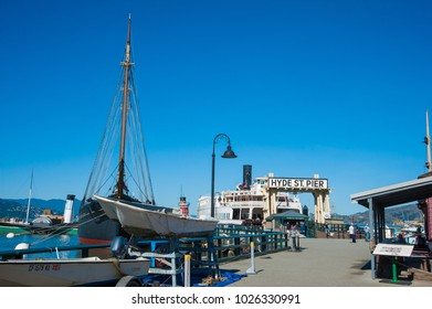 SAN FRANCISCO, CA/USA - FEBRUARY 03, 2018: Tourists visit the Hyde Street Pier at  San Francisco National Maritime Park and Museum in San Francisco, CA