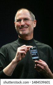 San Francisco, CA/USA; January 9, 2007: Apple Computer Inc. CEO Steve Jobs introduces the iPhone, a mobile phone based on its best- selling iPod device at MacWorld 2007 in San Francisco, California.