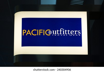 SAN FRANCISCO, CA/USA - JUNE 19, 2014: Pacific Outfitters travel gear exterior and sign. Pacific Outfitters are specialty airport stores in the United States.