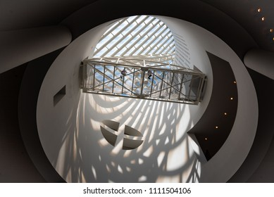 San Francisco, CA/U.S.A. - JUNE 2, 2018: An interior view at SFMOMA, looking up at the white circular turret with glass panels.