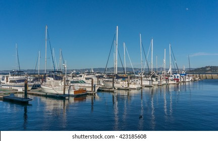 SAN FRANCISCO, CA/USA - MARCH 1: Sailing boats at Fisherman's Wharf on Mar 1, 2015 in San Francisco, CA. It is a neighborhood and popular tourist attraction in California.