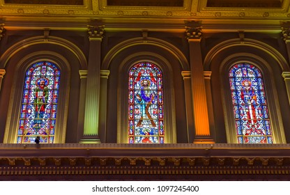 San Francisco, CA/USA - May 19, 2019: Stained windows in St. Ignatius Church, San Francisco, CA.