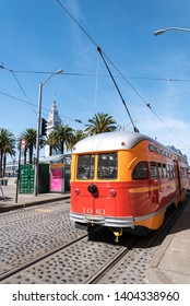 San Francisco, CA/USA- May 2019: San Francisco Street Car F Market & Wharves line runs from Fisherman's Wharf all the way to the Castro District along the Embarcadero and down Market Street.