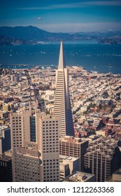 SAN FRANCISCO, CA/USA - OCT 5, 2018:  Aerial view of the Transamerica Pyramid and San Francisco Skyline as seen from the Salesforce Tower