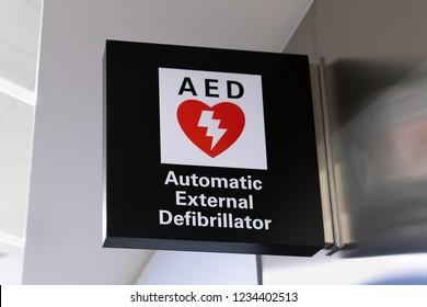 SAN FRANCISCO, CA/USA - OCTOBER 10, 2018: Automatic External Defibrillator sign and logo.