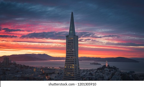 SAN FRANCISCO, CA/USA - SEPT 14, 2018: The Transamerica Pyramid and San Francisco Skyline with Dramatic Clouds at Sunset