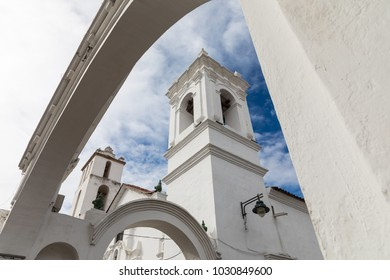 San Francisco church in Sucre, Bolivia. Sucre is the constitutional capital of Bolivia. Traditional colonial architecture, white houses.