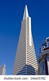 SAN FRANCISCO - CIRCA AUGUST 2012: The Transamerica Pyramid in San Francisco, circa August 2012. Designed by W. Pereira, upon completion in 1972 it was among the 5 tallest buildings in the world