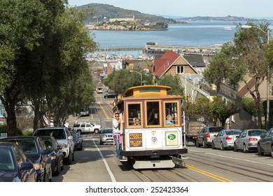 SAN FRANCISCO - CIRCA FEBRUARY 2015: Cable car trolley running on street