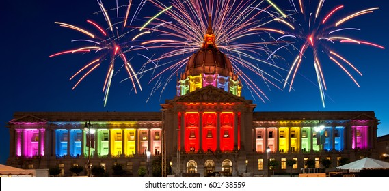 San Francisco City Hall Celebrating Gay Pride Week Illuminated in Rainbow Colors and Fireworks Panoramic