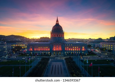 San Francisco City Hall at Sunset with City Lights
