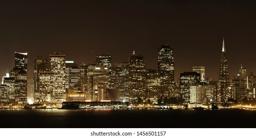 San Francisco city skyline with urban architectures at night panorama.