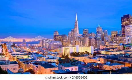 San Francisco cityscape and city lights at dusk