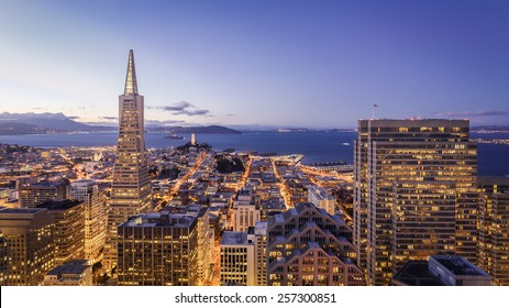 San Francisco cityscape looking over the financial district