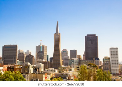 San Francisco cityscape skyline on a sunny day.  Down town financial district
