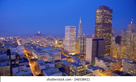 San Francisco cityscape with a view of famous skyscrapers and landmarks with city lights at night