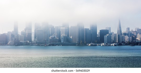 San Francisco in clouds, Panorama from San Francisco Bay