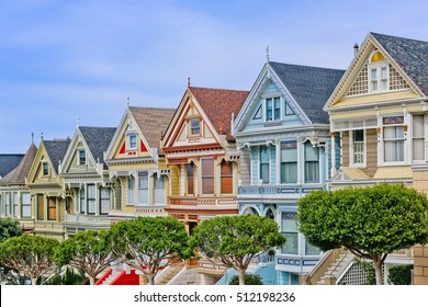 San Francisco Colorful victorian houses in a row.