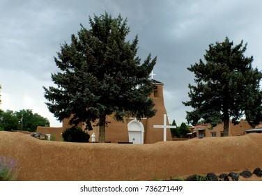 San Francisco de Asis Misson Church in Taos New Mexico on Stormy Day