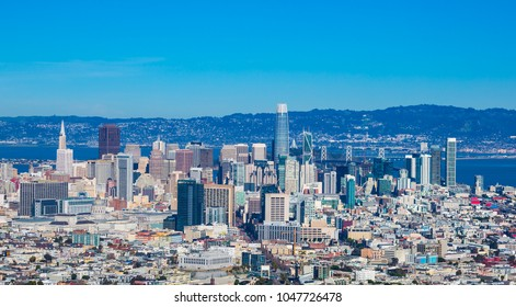 San Francisco down town skylines with blue sky