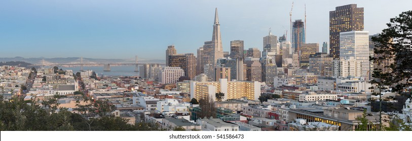 San Francisco Downtown and Bay Bridge Panorama