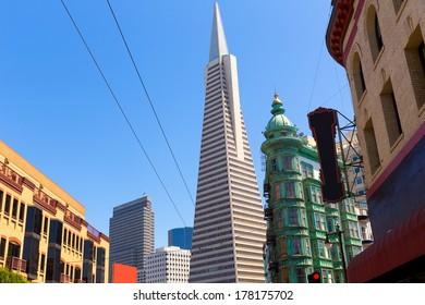 San Francisco Downtown Columbus Avenue with Karny St at California USA