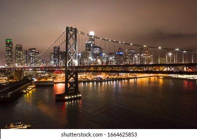 San Francisco downtown skyline buildings night bay bridge