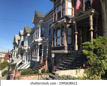 San Francisco Edwardian style architecture. Row of two story buildings in the Castro neighborhood in San Francisco.