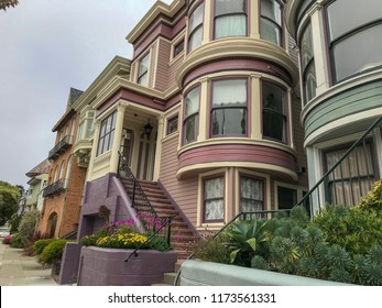 San Francisco Edwardian style architecture. Row of two story buildings in the Pacific Heights neighborhood in San Francisco.