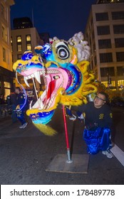 SAN FRANCISCO - FEB 15 : An unidentified participant in a Dragon dance at the Chinese New Year Parade in San Francisco , CA on February 15 2014 , It is the largest Asian event in North America