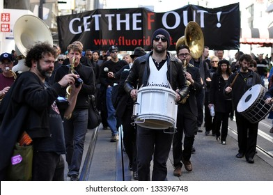 SAN FRANCISCO - FEB. 22:  Unidentified Protesters march against the use of fluoride in drinking water on Feb. 22, 2013, in San Francisco.  The Marchers believe that fluoride causes health problems.
