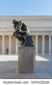 """SAN FRANCISCO - FEB 3rd 2018: The Legion of honor Museum in San Francisco with """"The Thinker"""" by Rodin. The Legion of Honor is a part of the Fine Arts Museums of San Francisco."""