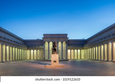 SAN FRANCISCO - FEB 3rd 2018: The Legion of honor Museum in San Francisco at twilight. The Legion of Honor is a part of the Fine Arts Museums of San Francisco.