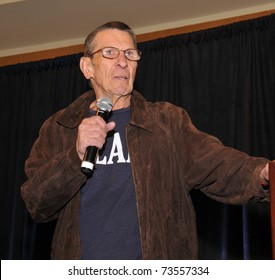 """SAN FRANCISCO - FEBRUARY 12.  Leonard Nimoy discusses his career and his book, """"Secret Selves""""  during the """"Creation"""" convention in San Francisco on February 12, 2011."""