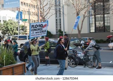 SAN FRANCISCO - FEBRUARY 17: Massive Forward on Climate rally at One Market Plaza on February 17, 2013 in San Francisco, California.