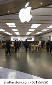 SAN FRANCISCO - February 2017: Consumers shopping at The Apple Store in Stonestown Mall show there is no slowing down for sales of Apple products.