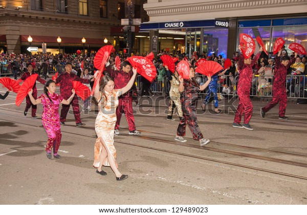 SAN FRANCISCO - FEBRUARY 23: Chinese New Year Parade in Chinatown on February 23, 2013 in San Francisco, California. Over 100 units participated in the Southwest Airlines Chinese New Year Parade.