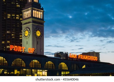 San Francisco Ferry building and eastern waterfront and roadway of the Port of San Francisco.